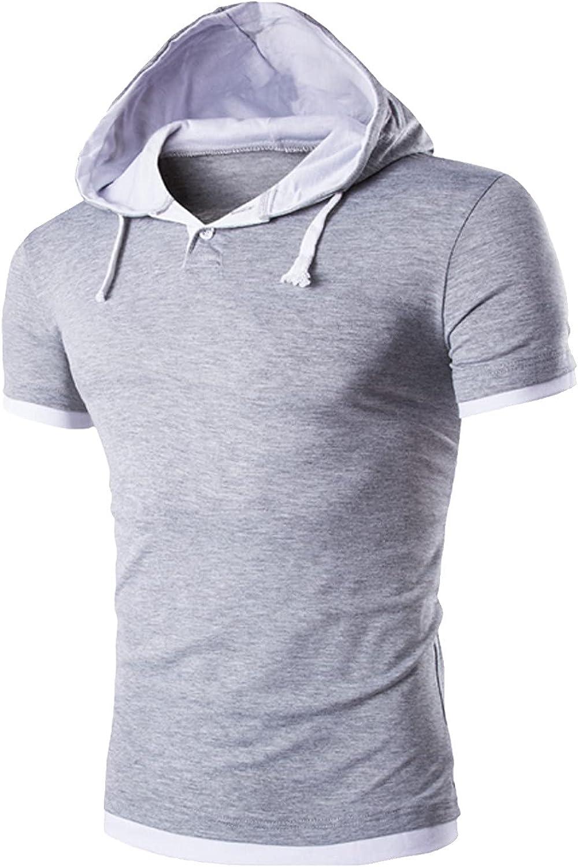 Mikey Store Clothes Mens Summer Short Sleeve Gym Hoodie,Lightweight Workout Muscle Shirt Henley Sweatshirt