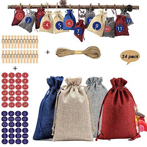 24 Jutesäckchen Jute Beutel für Adventskalender Stoffbeutel Natur Säckchen Geschenksäckchen, Stoffbeutel, Geschenktüten Stoffsäckchen mit Zugband, Geschenkbeutel für Schmuck Hochzeitsgastgeschenke