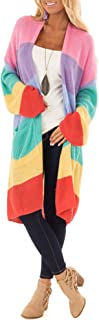 Women's Color Block Striped Draped Kimono Cardigan with Pockets Long Sleeve Open Front Casual Knit Sweaters Coat