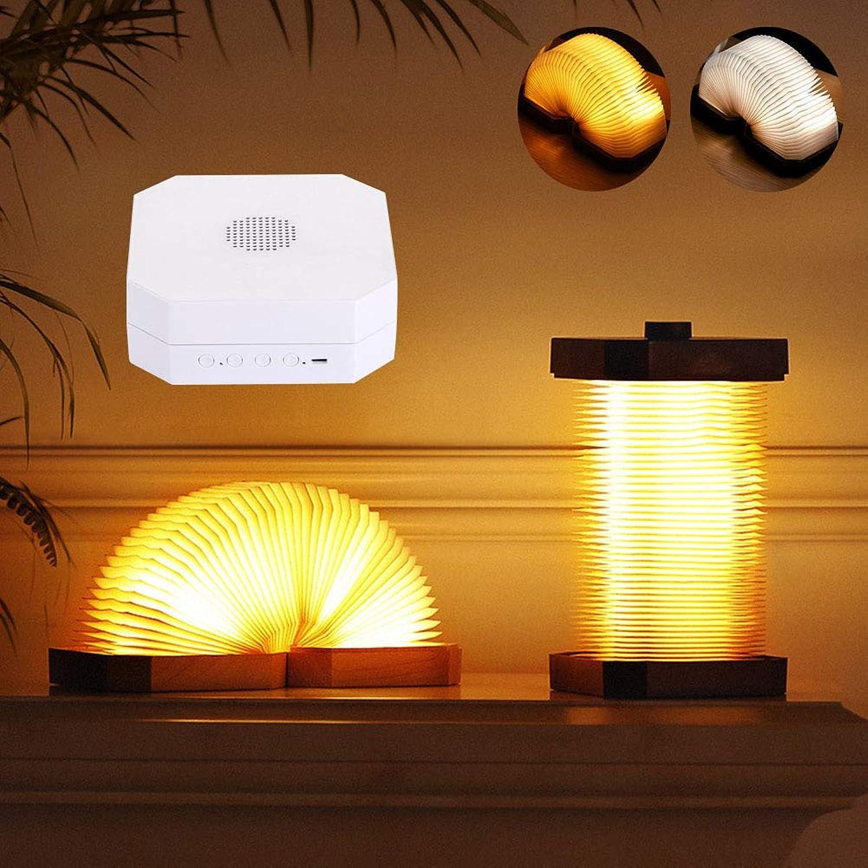 GLXQIJ LED Magic Book Light, 2 Farben Faltbare Nachttischlampe Blautooth Lautsprecher USB Wiederaufladbar, Nachtlicht für Kinder Wohnkultur,Weiß
