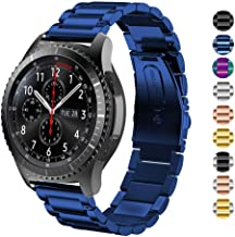 HUANLONG Gear S3 Frontier/Classic Watch Band,22mm Stainless Steel Link Bracelet Strap Compatible for Samsung Gear S3 Classic/Frontier/Galaxy Watch 46mm Smart Watch Fitness (Blue)