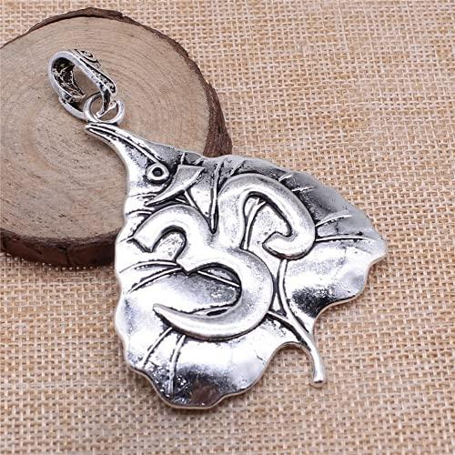JONJUMP Artesanía hecha a mano color plata 74x56mm Bodhi Leaf Yoga