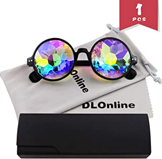 DLOnline Round Kaleidoscope Glasses,Rainbow Prism Sunglasses for Party Rave Festival Disco Dancing with Glasses Cloth,Glasses Bag and Box (Black Spectacle-Frame)
