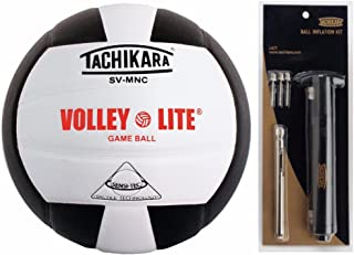 Tachikara SVMNC Volley-Lite Training Volleyball (Black, White) +I-KIT Ball Inflation Kit