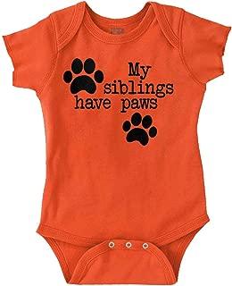 Siblings Have Paws Funny Animal Newborn Pet Romper Bodysuit