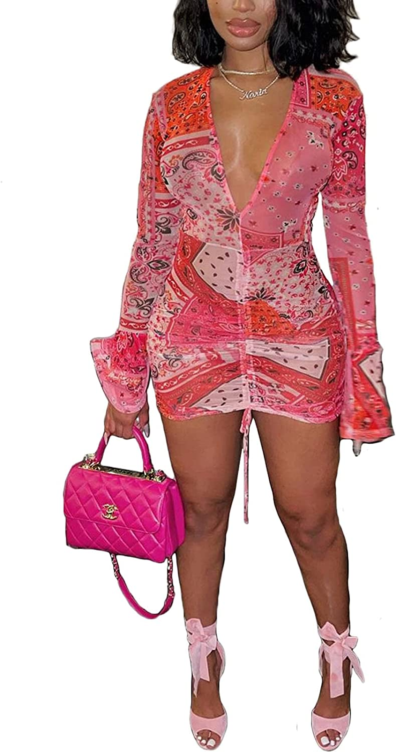 Adogirl Women's Sexy Sheer V Neck Mesh Party Dresses Floral Print Flare Sleeve See Through Ruched Bodycon Mini Dress
