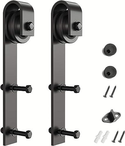 wholesale SMARTSTANDARD Sliding Barn Door lowest Hardware Hangers 2pcs (Black) (J popular Shape Hangers) outlet online sale