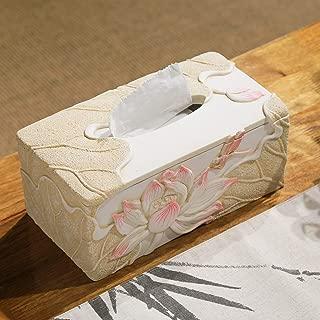 ZHJDD Resin Tissue Box  Painted Pattern Coffee Table Decoration Table Napkin Box  25CM 13CM 10CM  tissue box  Color White