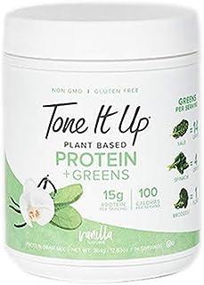 Tone It Up Protein & Greens | Vegetable Protein Powder for Women |Vegan, Vanilla | Pea & Pumpkin Seed Protein | Gluten Free, Non Dairy | 15g of Protein | .77lbs…