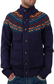 Tokyo Laundry Mens Boys Blue Indigo Funnel Neck Buttoned Knitted Cardigan Time Money Hip Hop IB-1115