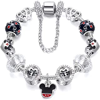 Disney Style Mickey Pendant Silver Plated Charm Bracelet - Cartoon Series 01