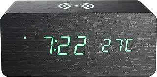 LED Alarm Clocks for Mobile Phone Wireless Charging Station Wooden Home Desktop Electronic Bedroom Digital Clock (Black Wood Green Light)