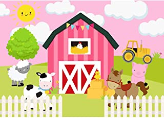 Allenjoy 7x5ft Pink Cartoon Farm Backdrop for Girls Birthday Party Farmland Animals Cows Pigs Barnyard Photography Background Newborn Infant Baby Shower Banner Decorations Cake Table Props