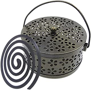 Whiidoom Retro Portable Iron Mosquito Coil Holder with Handle Round Fireproof Incense Holder(Bronze)