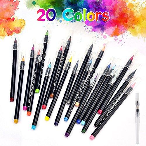 WOWENWO Watercolor Brush Pen 20 Colors Soft Flexible Real Brush Tip Water Coloring Brush Marker Pens Set for Watercolor Painting, Calligraphy, Adult Coloring Books, Manga, Comic (20 Colors)