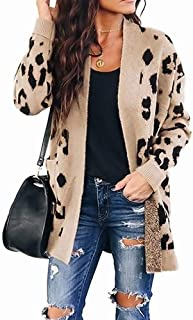 ZESICA Women's Long Sleeves Open Front Leopard Print...