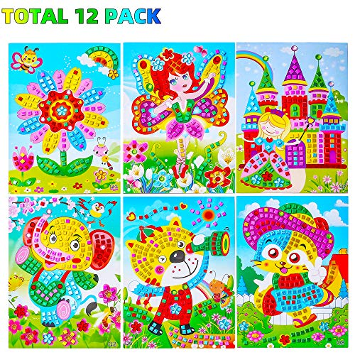 Sinceroduct Mosaic Stickers Art Kits for Kids, 12 Pack DIY Handmade Art Crafts for Kids Shine Sparkle Mosaics- Elephant Flower Cat Dinosaur Car Castle Etc.