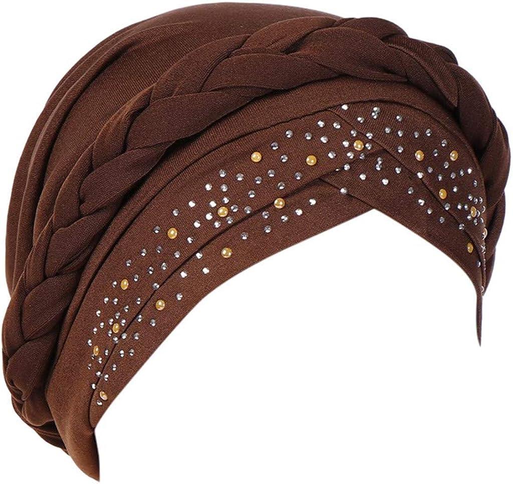 ManxiVoo Women Turbans Hats Rhinestone Braided Cancer Chemo Hat Beanie Turban Cap Muslim Head Wrap