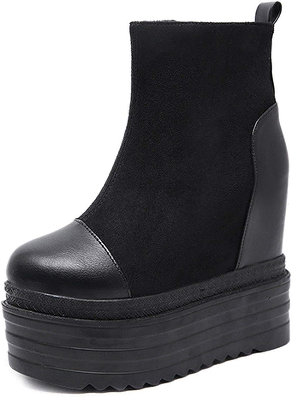 Summer-lavender Autumn Platform Boots Woman Footwear Fashion Women Flock Black Wedges Boots shoes Comfortable