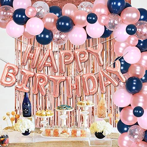 Decoraciones de cumpleaños en azul marino y rosa rubor Kit de arco de globo de oro rosa y azul marino para niña, suministros de fiesta de cumpleaños, cortina con flecos en azul marino y rosa rubor