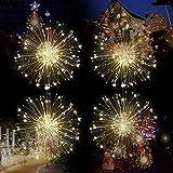 SoloKing Luces de Fuegos Artificiales de Cadena LED con 8 Modos y Control Remoto 120 Luces de LED Regulables Recargables para Navidad Boda Fiesta Patio Decoración de Jardín Dormitorio(4 Piezas)