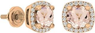 Dazzlingrock Collection 10K 5 MM Each Round Gemstone & White Diamond Ladies Halo Stud Earrings, Rose Gold