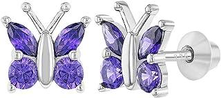 925 Sterling Silver Purple CZ Butterfly Screw Back Earrings for Girls Teens