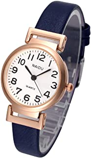 Top Plaza Womens Ladies Classic Simple Leather Analog Wrist Watch Rose Gold Case Arabic Numerals Casual Dress Quartz Watches,Small Dial