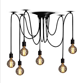 ZHMA Classic Spider pendent Lamps, Ajustable DIY Ceiling Spider Light E27, Rustic Chandelier, Industrial Hanging Light Dining Hall Bedroom Hotel Decoration, 6 Arms(Each with 1.7m Wire)