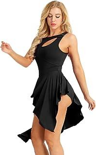 yeahdor Women's Lyrical Latin Dance Dresses Girls' Modern Contemporary Dancing Costumes High Low Skirted Leotard