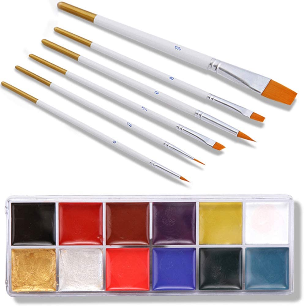 Moares Halloween Cosplay Makeup,Realistic Scary Halloween Decorations Halloween 12 Colors Washable Face Body Oil Painting Pigment Brushes Makeup Tool Painting