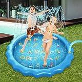 Alta qualità e durevolezza: il tappetino per giochi sprinkler e la piscina per bambini promettono materiale in PVC durevole, morbido e resistente, privo di BPA, ambientale e non tossico. Irrigatore divertente per bambini: il miglior intrattenimento e...