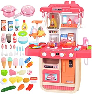 DWLXSH Little Kitchen Playset,Kids Play Kitchen,Simulation of Spray,Play Sink with Running Water,Dessert Shelf Toy & Other...