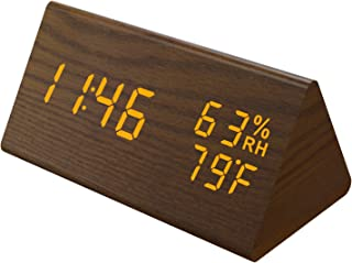 MICARSKY Digital Alarm Clock for Bedrooms, Wooden Led Clock with 3 Alarms Setting, 3 Levels Brightness, Dual Power, Dual T...