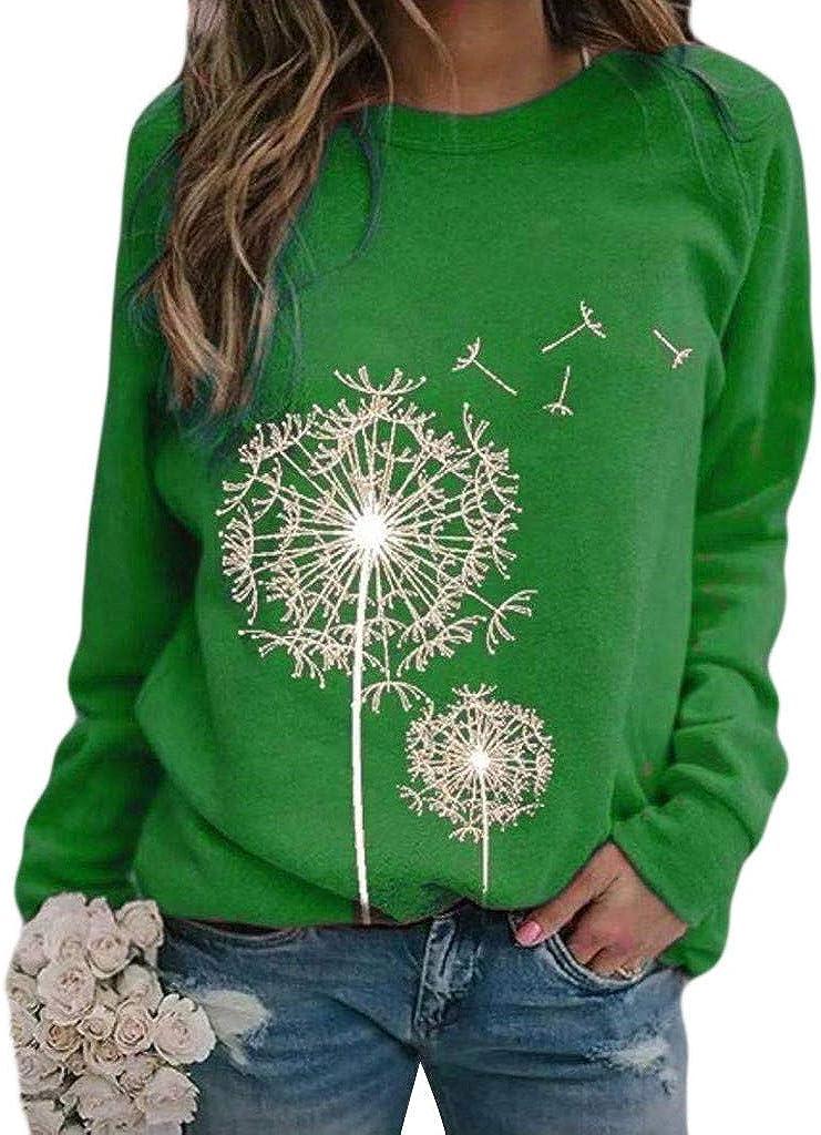 Long Sleeve Shirts for Women,Women Sweatshirts Tops Long Sleeve Flower Print Tops Casual Crewneck Pullover Shirts