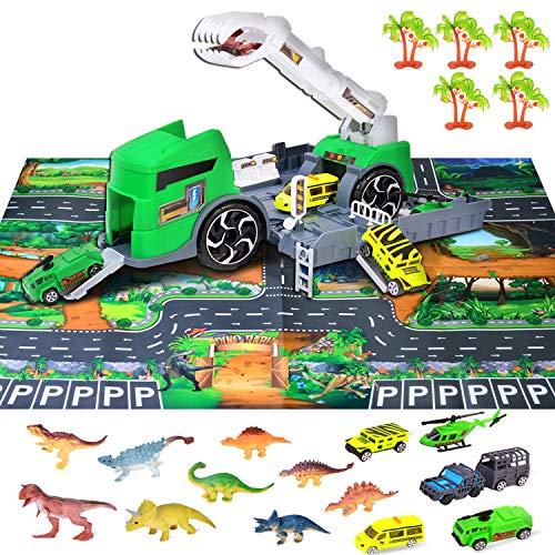 Tuptoel Dinosaur Toys & Car Toys Set, Newest Kids Realistic Dinosaur Playset - Including 9 Dinosaurs, 5 Types Trucks/Cars, 1 Play Mat, 5 Trees, 1 Dino Trucks - Best Gifts for Boys/Girls Age 3 4 5 6 7+