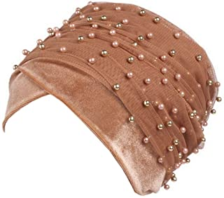 Jixin4you Beads Mesh Head Wrap Headscarf Muslim Headdress African Turban Chemo Hat
