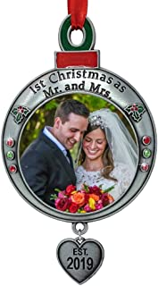 BANBERRY DESIGNS Wedding Ornament - 1st Christmas as Mr. and Mrs. EST 2019 - Red and Green Picture Ornament Shaped Like an Ornament Bulb