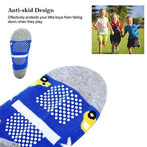 VBIGER 5 Pairs Boys Socks Kids Slipper Socks Non Slip Socks Kids Socks Warm Cotton Socks for Girls Boys Baby Toddler, Aged 1-5