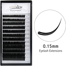 LASHVIEW 0.15 Thickness Premium C Curl Mixed Tray Eyelash Extensions Individual Natural Semi Permanent EyeLashes Soft Application-friendly Mink Lashes (Salon Perfect Use)