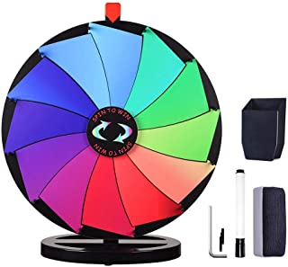 "WinSpin 24"" Prize Wheel Dry Erase Fortune Spinning Game Carnival with Tabletop Stand 12 Slots Something Fun at Home"