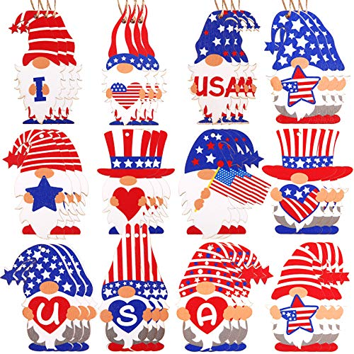 36 Pieces Patriotic Gnome Ornaments 4th of July Wooden Ornaments Leprechaun Gnome Ornament Decorations for Independence Day Holiday Home Decoration (Color 1, 36)