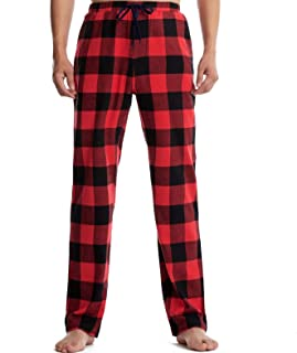 Frobukio Mens Checked Sleep Pants Long Lounge Pant with Pockets, Cotton Pyjama Bottoms with Drawstring Trousers