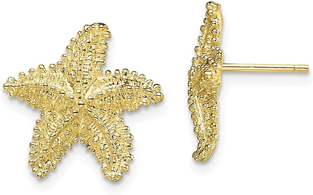10k Yellow Gold Textured Beaded Starfish Post Stud Earrings Animal Sea Life Fine Jewelry For Women Gifts For Her