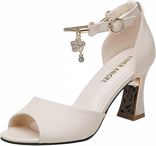 YTTY Rough avec Sandales à Talons Hauts Sandales épais Chaussures pour Femmes Beige 38