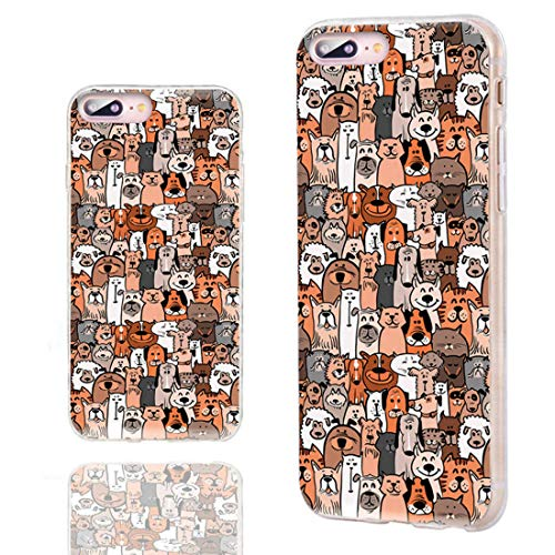 ChiChiC iPhone 8 Plus Case Cool,iPhone 7 Plus Case Cute,Slim Flexible Soft TPU Rubber Clear Protective Cases Cover with Design for iPhone 8 7 Plus 5.5 Inch,Cartoon Animal Pet Dog Puppy and Cat Smile