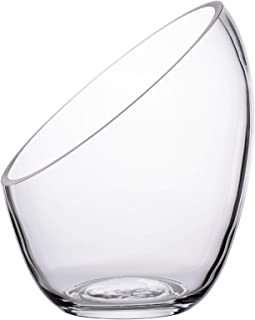 "KnikGlass Clear Slant Cut Bubble Bowl, Fish Bowl & Plant Terrarium, Candy Jar Slant Cut Globe Vase Center Piece, Round Flower Vase, (6.9"" Tall .5.5"" Wide)"