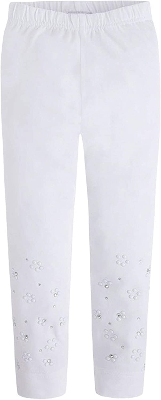 Mayoral Chic Tween Girls 8-18 White Studded Jersey Knit Pants/Leggings