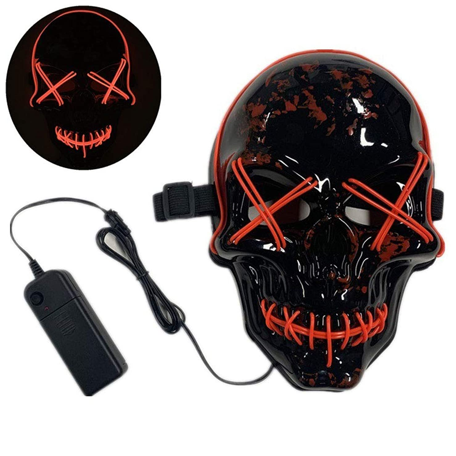 結果無声で投げ捨てるハロウィーンマスク、しかめっ面、テーマパーティー、カーニバル、ハロウィーン、レイブパーティー、クリスマスなどに適しています。,Red