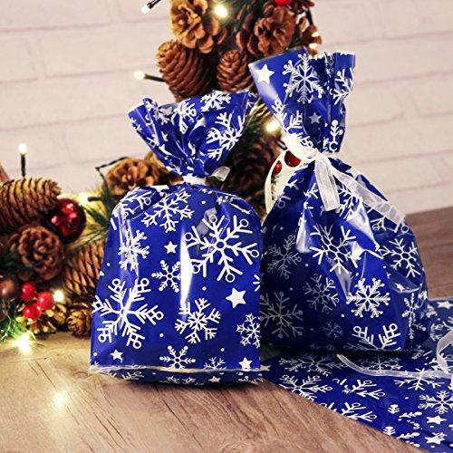 NICEXMAS sacchetti regalo di Natale con fiocchi di neve in cellofan con nastrino 30 pezzi